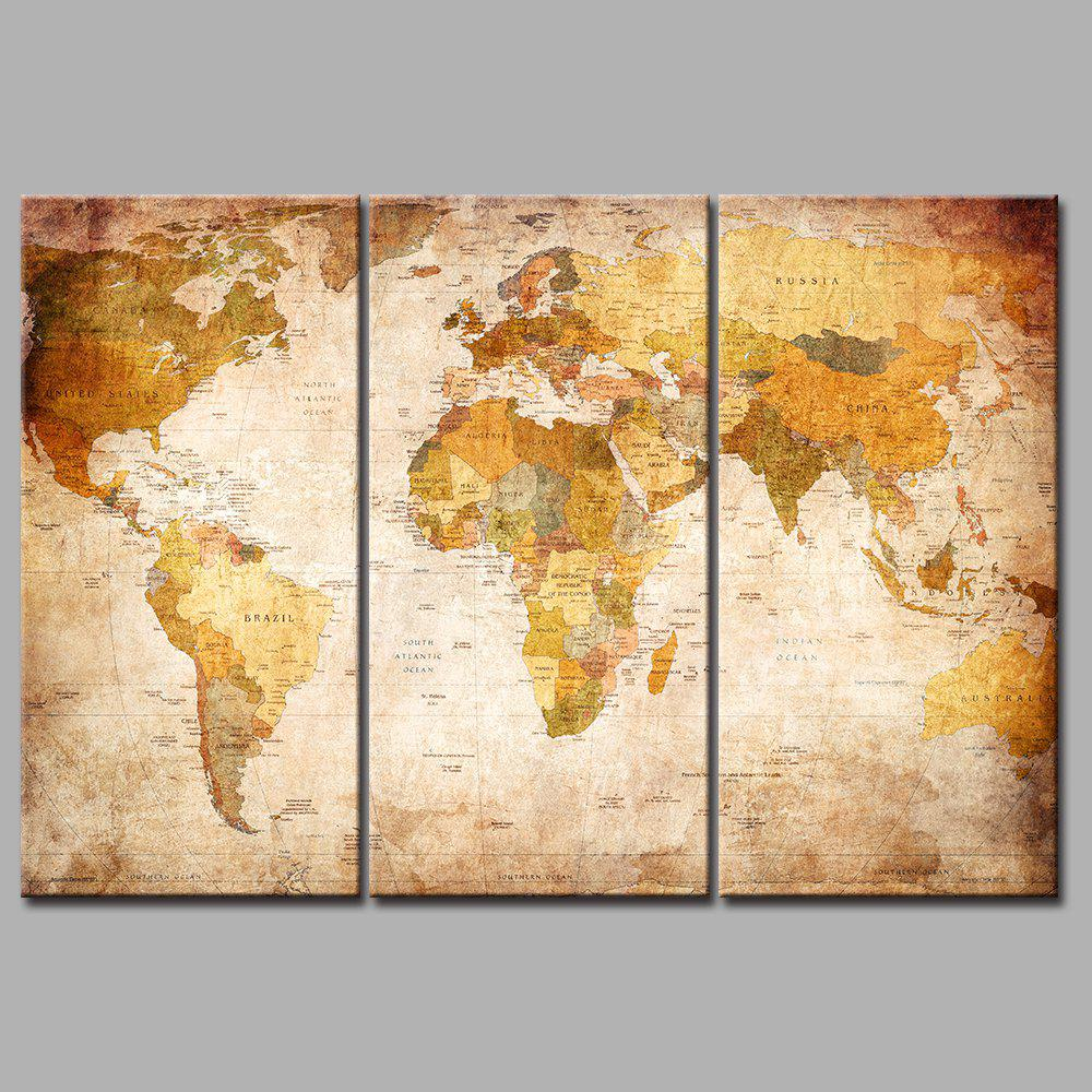 Yellow World Map Frameless Printed Canvas Art Paintings 3PCS world map frameless printed canvas wall art paintings 5pcs