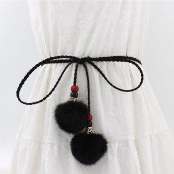 Vintage Fashion Hairball Handmade Knotted Waist Chain - BLACK