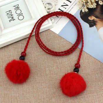Vintage Fashion Hairball Handmade Knotted Waist Chain - RED