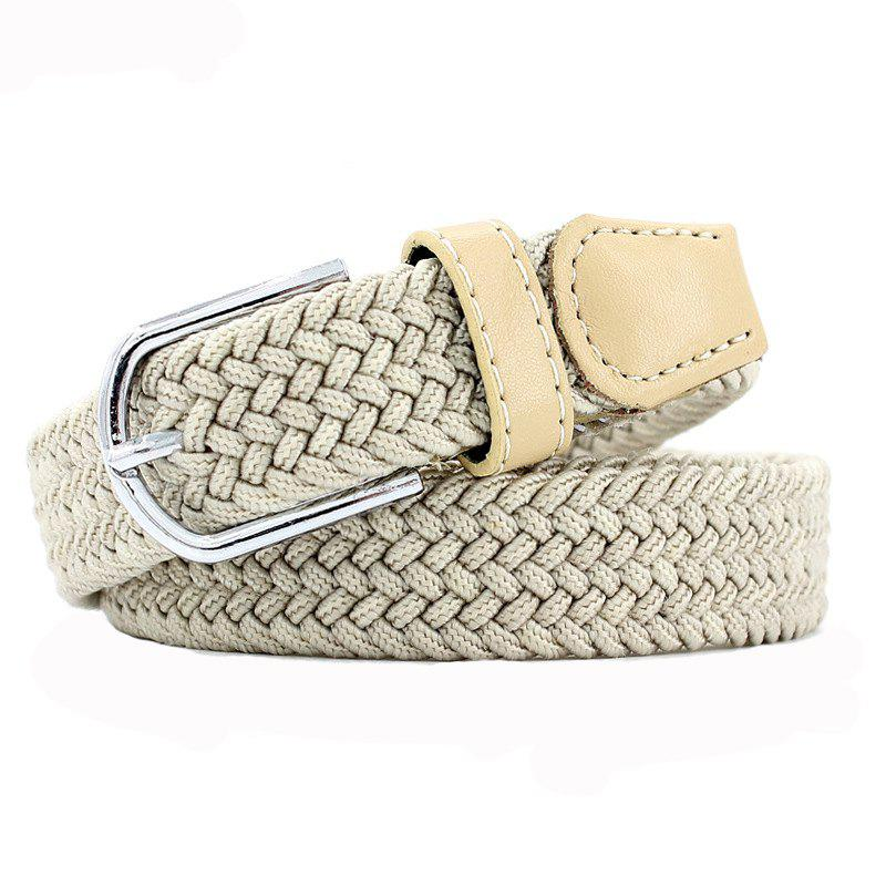 Fashion  Elastic Woven Pin Buckle Belt - BEIGE
