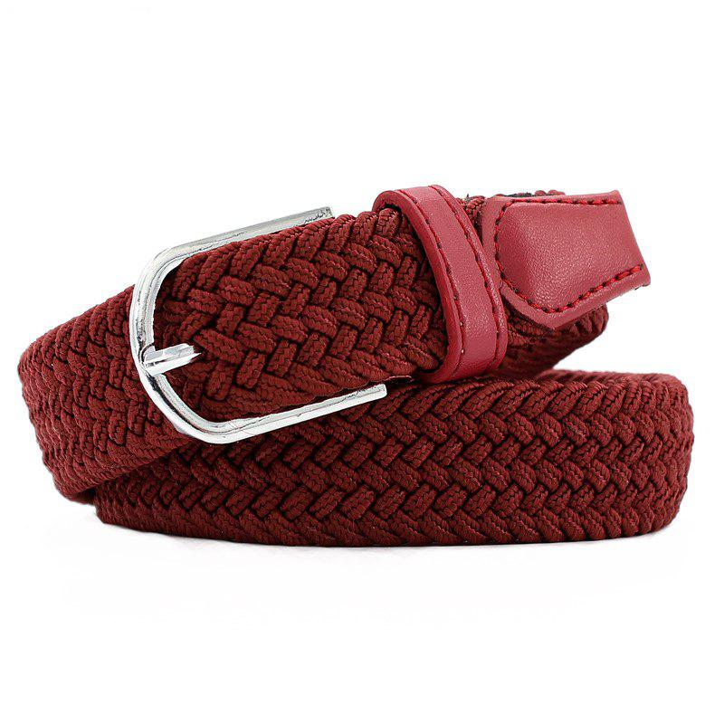 Fashion  Elastic Woven Pin Buckle Belt - RED