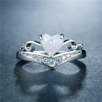 Heart-shaped  Copper Plated with Zircon Rings - WHITE US SIZE 8