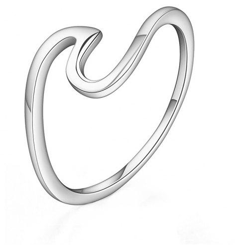 Simple U-shaped Geometric Single Wave Metal Couple Ring - WHITE US SIZE 10