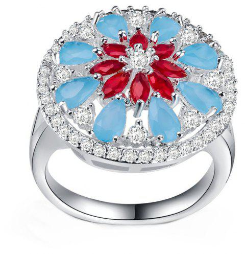 Lady's Flowers Frosted Hollow Ring - SILVER US SIZE 10