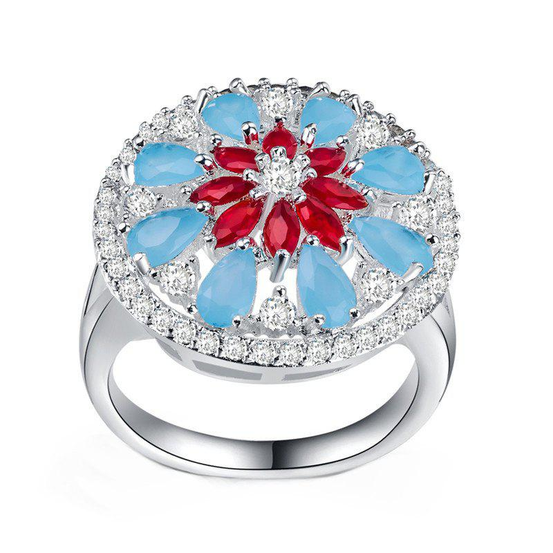 Lady's Flowers Frosted Hollow Ring - SILVER US SIZE 9