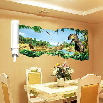 3D Dinosaurs World Background Wall Sticker Home Animal Decoration - multicolor