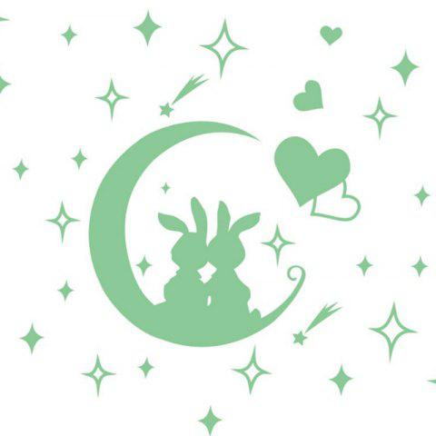 Removable Cute Children Bedroom Moon Rabbit Cartoon Fluorescent Wall Sticker - FROG GREEN