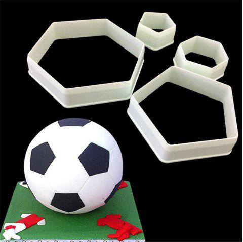 Football Fondant Cake Printing Plastic Biscuit Modeling Cutting Tool 4PCS - WHITE