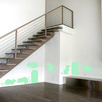 Noctilucent Engraving Adorable Rat Cartoon Switch Wall Sticker - DRAGON GREEN