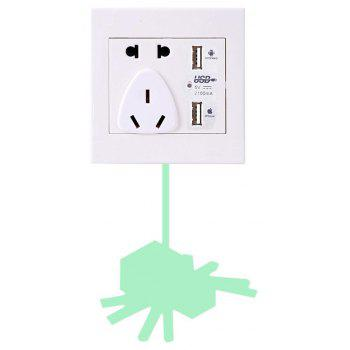 Noctilucent Engraving Adorable  Spider Cartoon Switch Sticker Wall - DRAGON GREEN