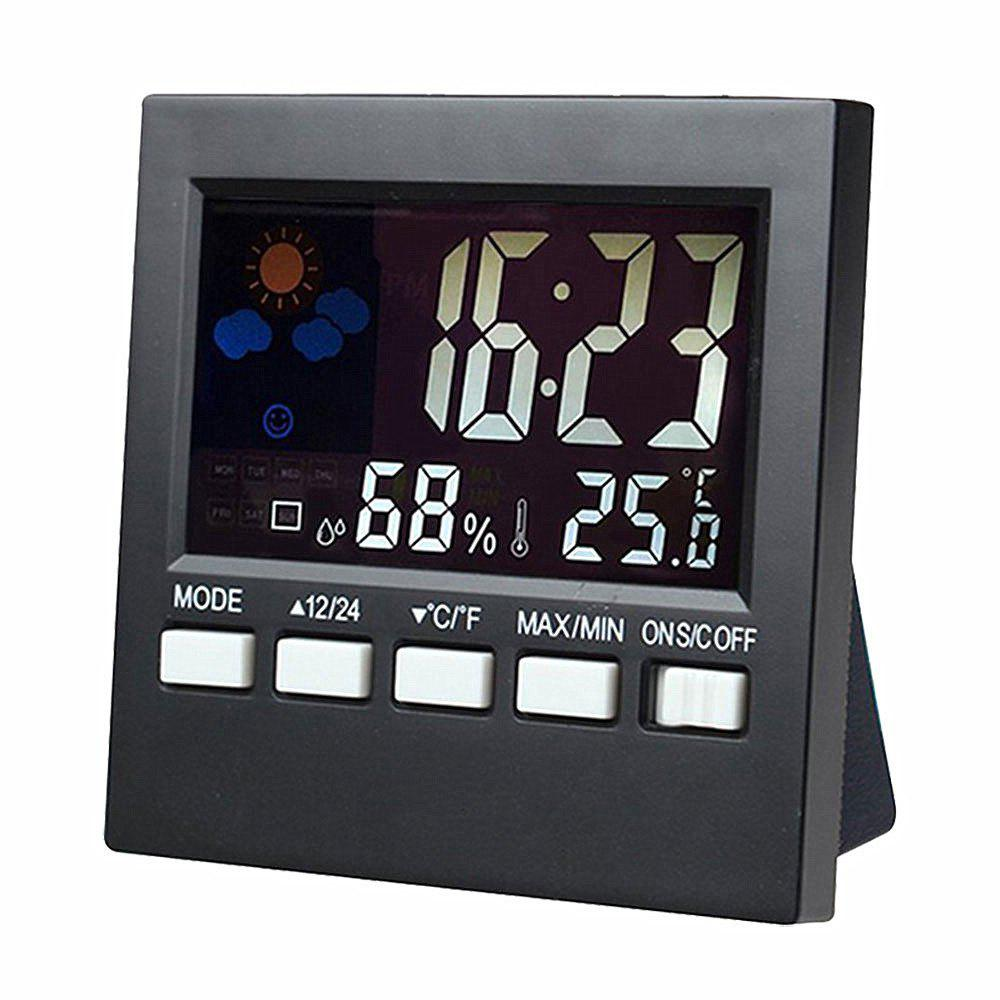 Multi-functional Desk Clock with Digital Weather Station  Baby Humidity Display - BLACK