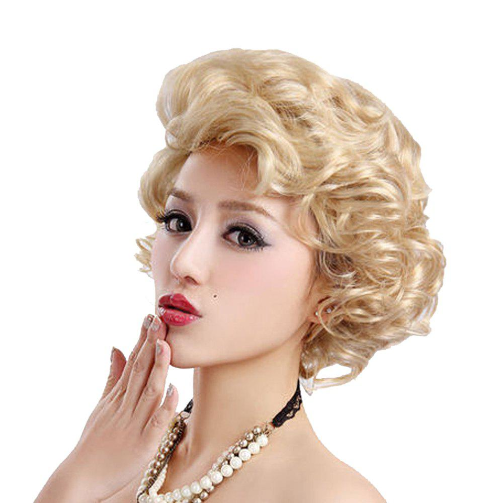Synthetic Light Blonde Short Curly Hair Charming Cosplay Dancing Party Wigs pretty short straight blonde 8 synthetic hair wigs free shipping