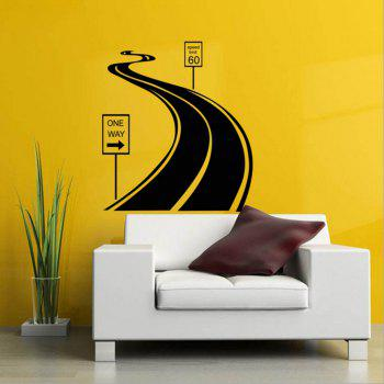 Black Road Personality Creative Removable Wall Sticker - BLACK