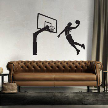 Black Basketball Personality Creative Removable Wall Sticker - BLACK