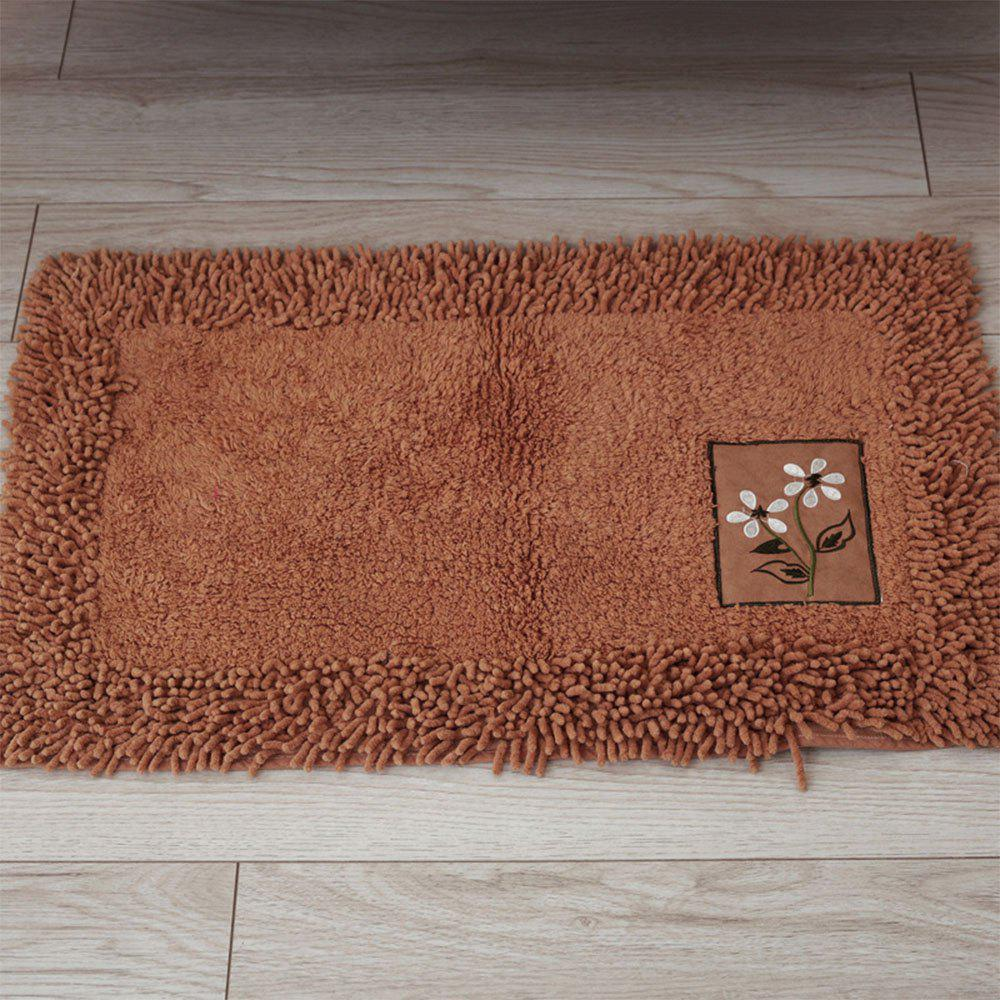Cotton Chenille Rectangular Absorbent Carpet - DEEP COFFEE 45X70CM
