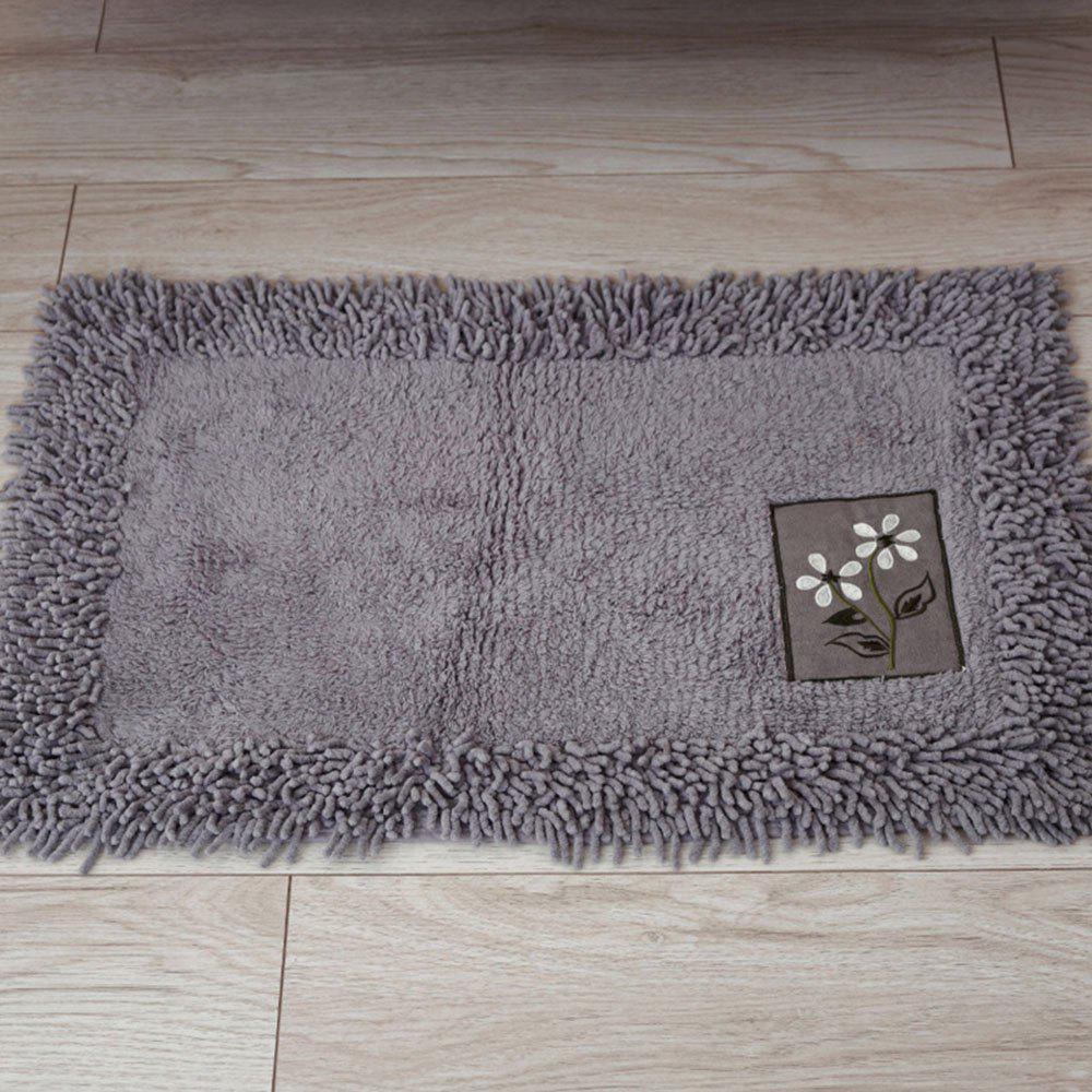 Cotton Chenille Rectangular Absorbent Carpet - SLATE GRAY 60X90CM