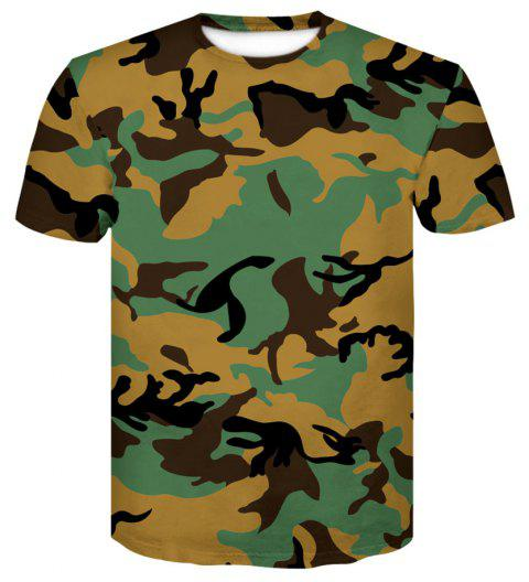 68483039c37b Men s Camouflage Tight Sports Fast Dry Elastic Compression Short Sleeve T- Shirt - multicolor M
