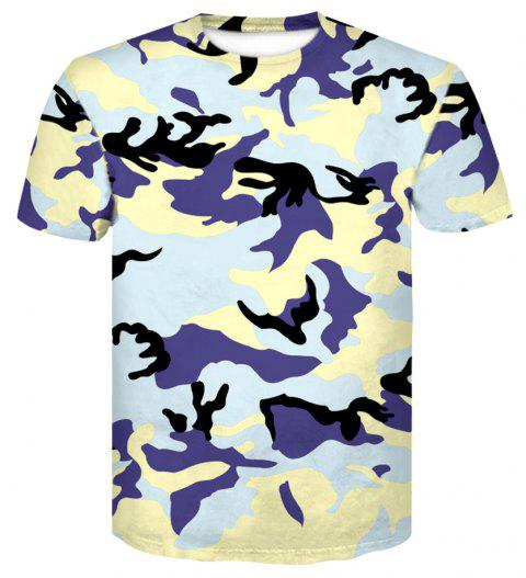 a02dfe81c6c9 Men s Camouflage Tight Sports Fast Dry Elastic Compression Short Sleeve T- Shirt - multicolor C