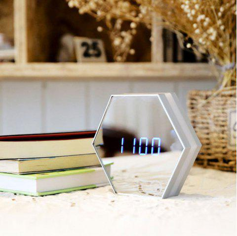 USB Charging Alarm Clock Led Multifunctional Mirror Desk Lamp - WHITE