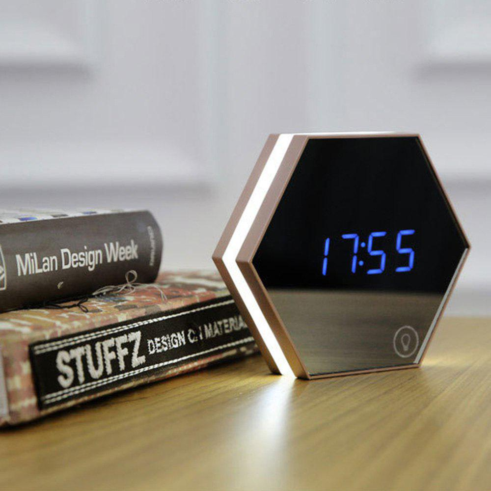 USB Charging Alarm Clock Led Multifunctional Mirror Desk Lamp - DEEP BROWN
