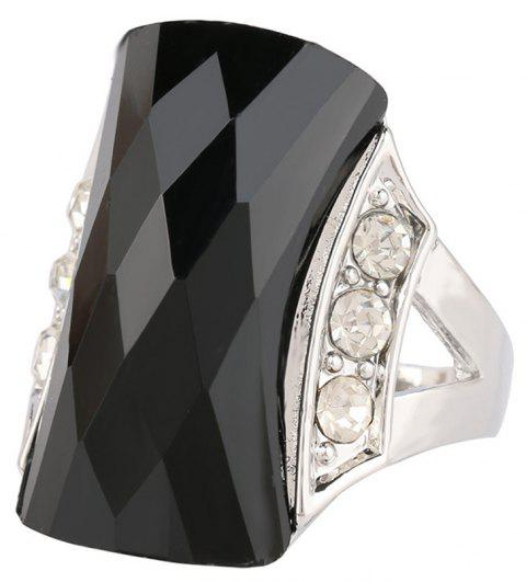 PULATU Unisex Rectangular Resin Mosaic Rhinestone Finger Ring - BLACK US SIZE 10