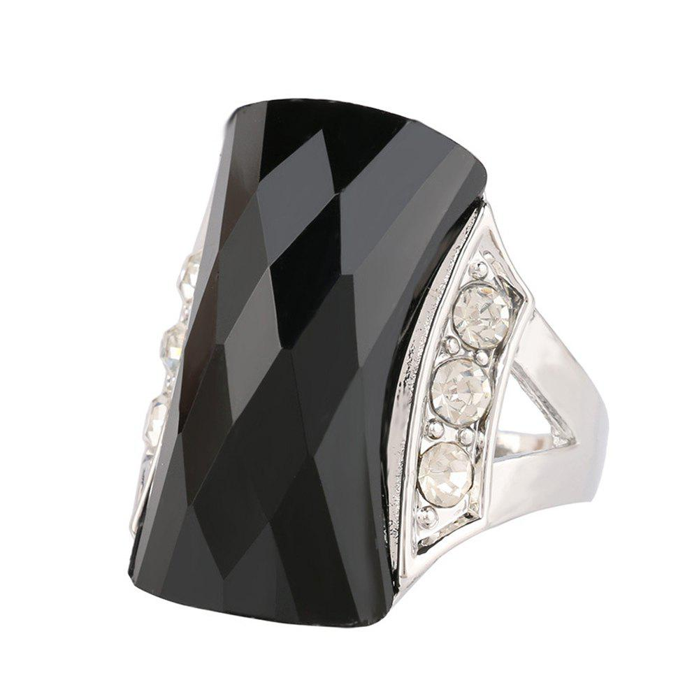 PULATU Unisex Rectangular Resin Mosaic Rhinestone Finger Ring - BLACK US SIZE 9