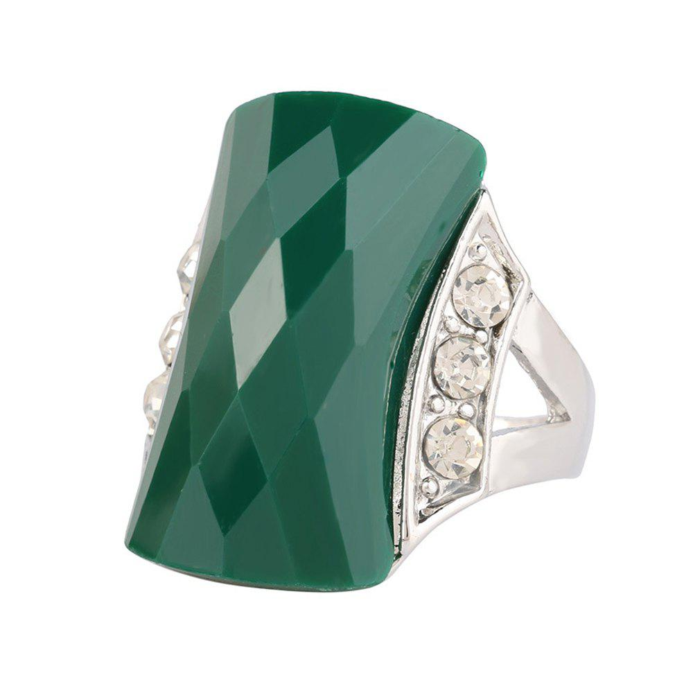 PULATU Unisex Rectangular Resin Mosaic Rhinestone Finger Ring - GREEN US SIZE 10