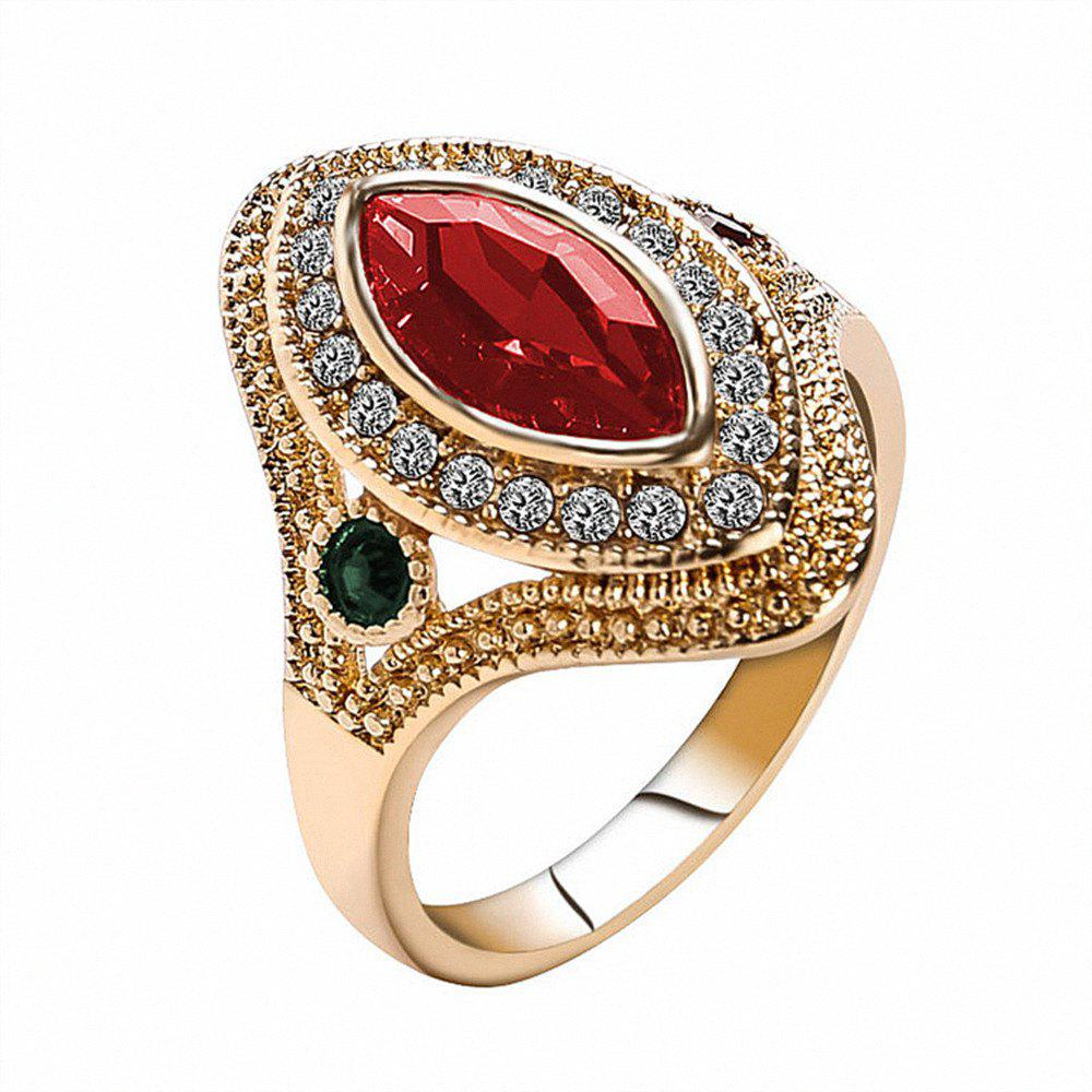 PULATU Women's Horse Eye Rhinestone Resin Gold Color  Ring - RED US SIZE 9