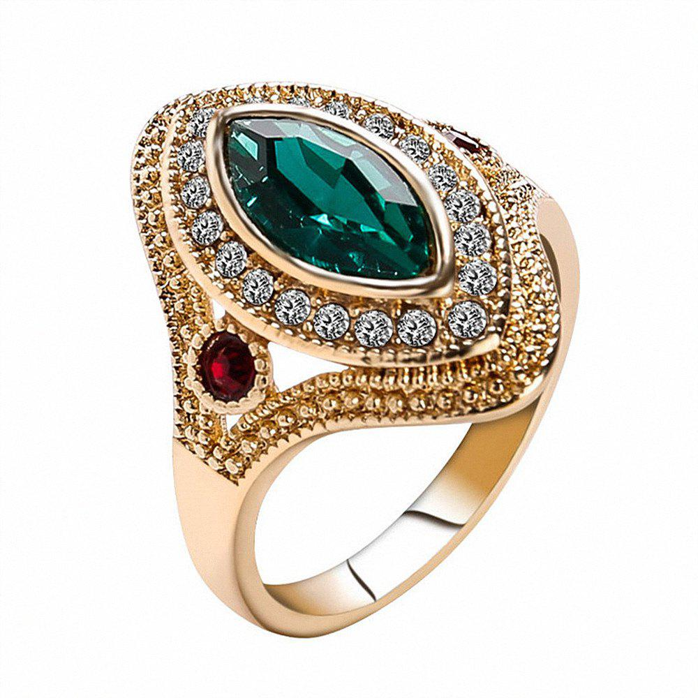 PULATU Women's Horse Eye Rhinestone Resin Gold Color  Ring - GREEN US SIZE 8