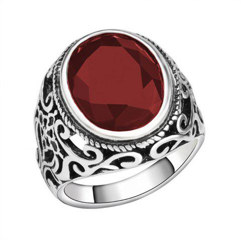 PULATU 4 Colors Resin Totem Carved Silver Color Metal Finger Ring - RED US SIZE 8