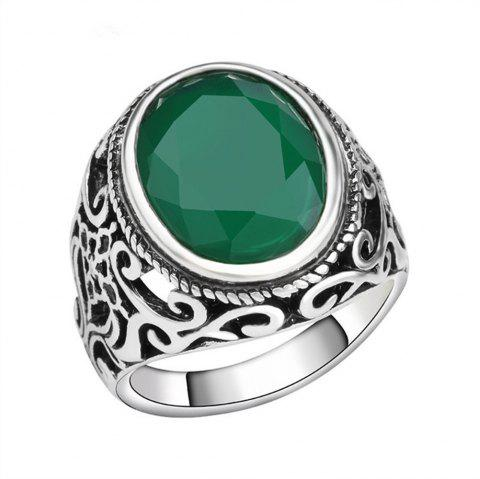 PULATU 4 Colors Resin Totem Carved Silver Color Metal Finger Ring - GREEN US SIZE 9