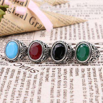 PULATU 4 Colors Resin Totem Carved Silver Color Metal Finger Ring - GREEN US SIZE 8