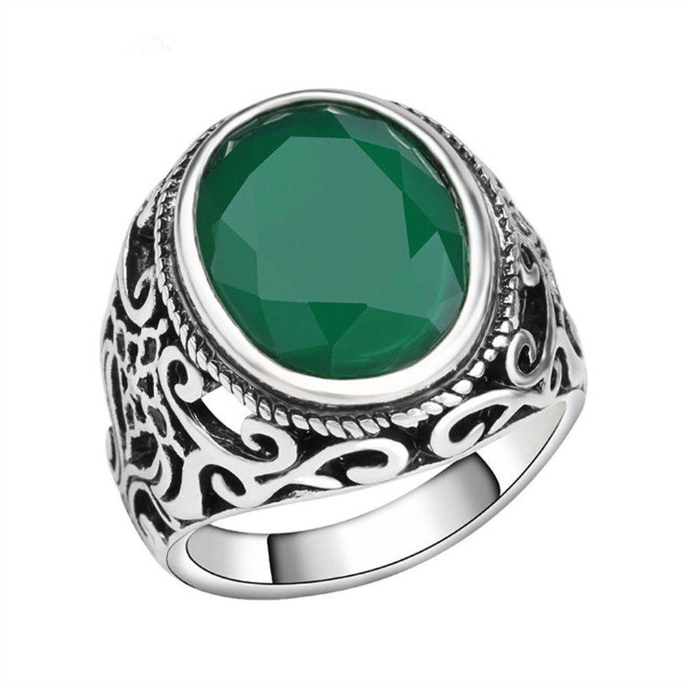 PULATU 4 Colors Resin Totem Carved Silver Color Metal Finger Ring - GREEN US SIZE 10