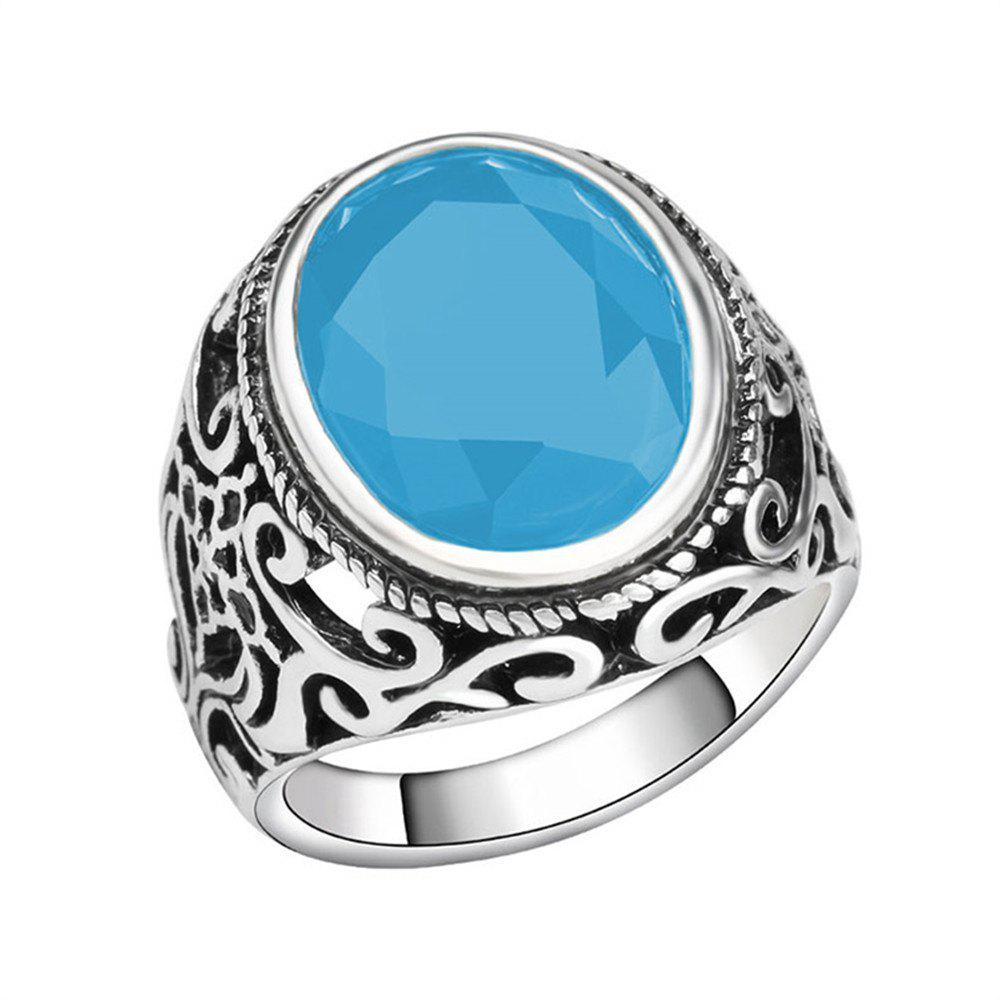 PULATU 4 Colors Resin Totem Carved Silver Color Metal Finger Ring - DAY SKY BLUE US SIZE 9