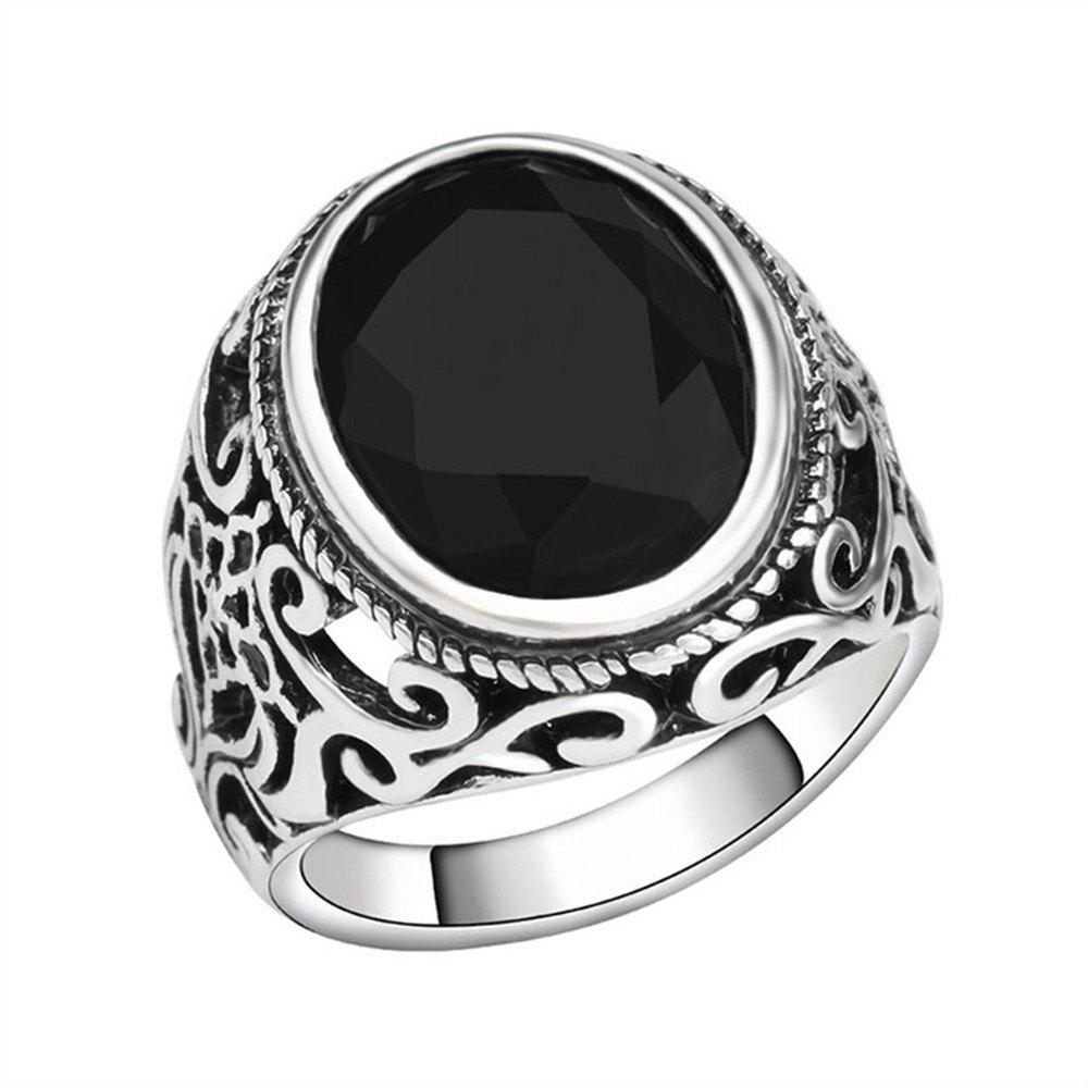 PULATU 4 Colors Resin Totem Carved Silver Color Metal Finger Ring - BLACK US SIZE 9