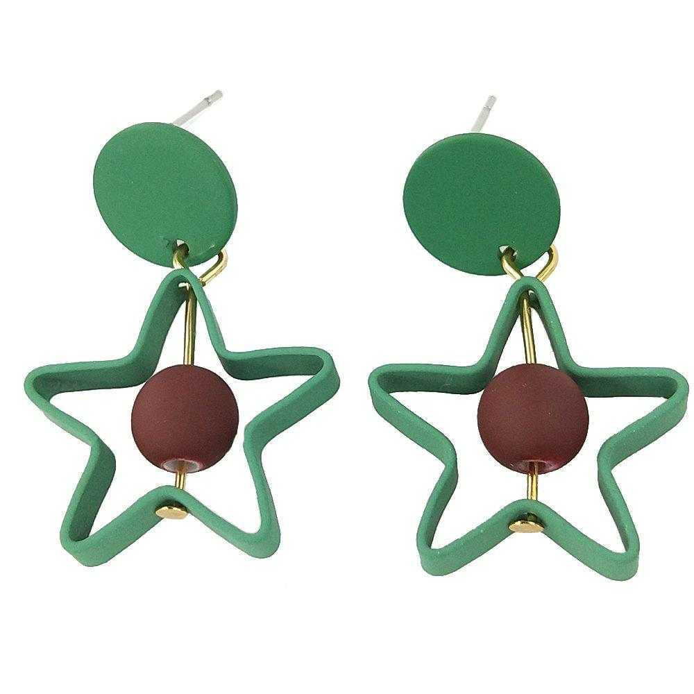 Green Five-Pointed Star Red Plush Ball Earrings
