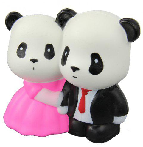 Jumbo Squishy Married Pandas Relieve Stress Toys - BLACK