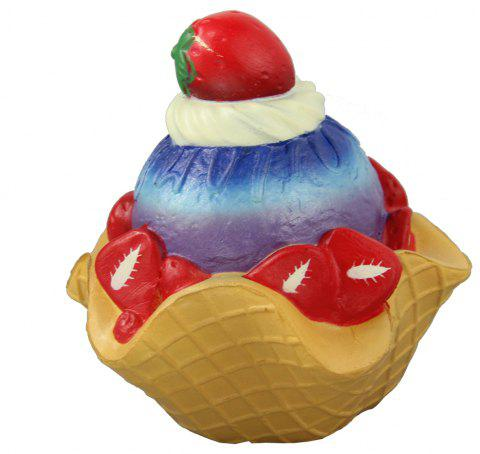 Jumbo Squishy Strawberry Pie Cake Relieve Stress Toys - multicolor A