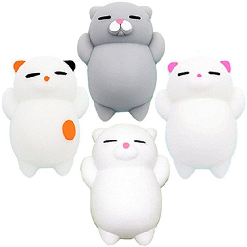 Mini Mochi Toys Stress Animals Decoration Jumbo Squishy Cat 4PCS - multicolor