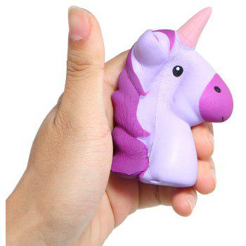 Unicorn Head Jumbo Squishy Cute Doll Squishies Slow Rising Phone Strap - TYRIAN PURPLE