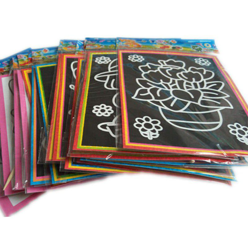 Magic Color Scratch Art Paper Coloring Cards Scraping Drawing Toy 20PCS