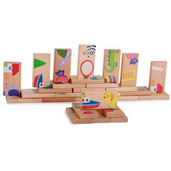 Animal Colored Dominoes Wooden Puzzle Cartoon Educational Baby Toy - multicolor