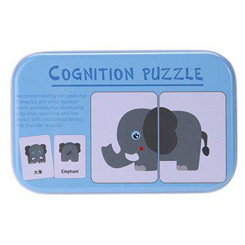 Baby Learn English Pair Puzzle Cognitive Card Infant 32pcs/Box - SEA BLUE