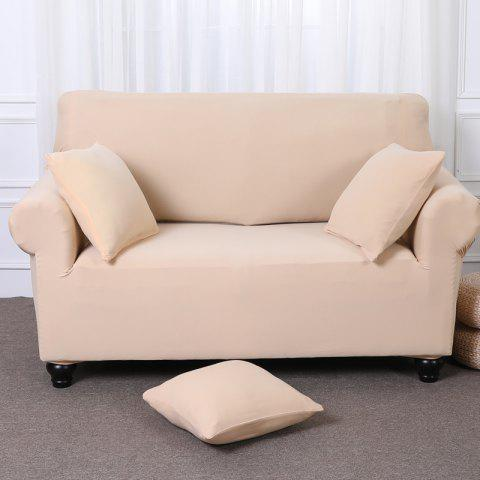 Elastic Tight Package Anti-Skid Pure Color Sofa Cover - BEIGE TWO-SEAT SOFA COVER154CM-185CM