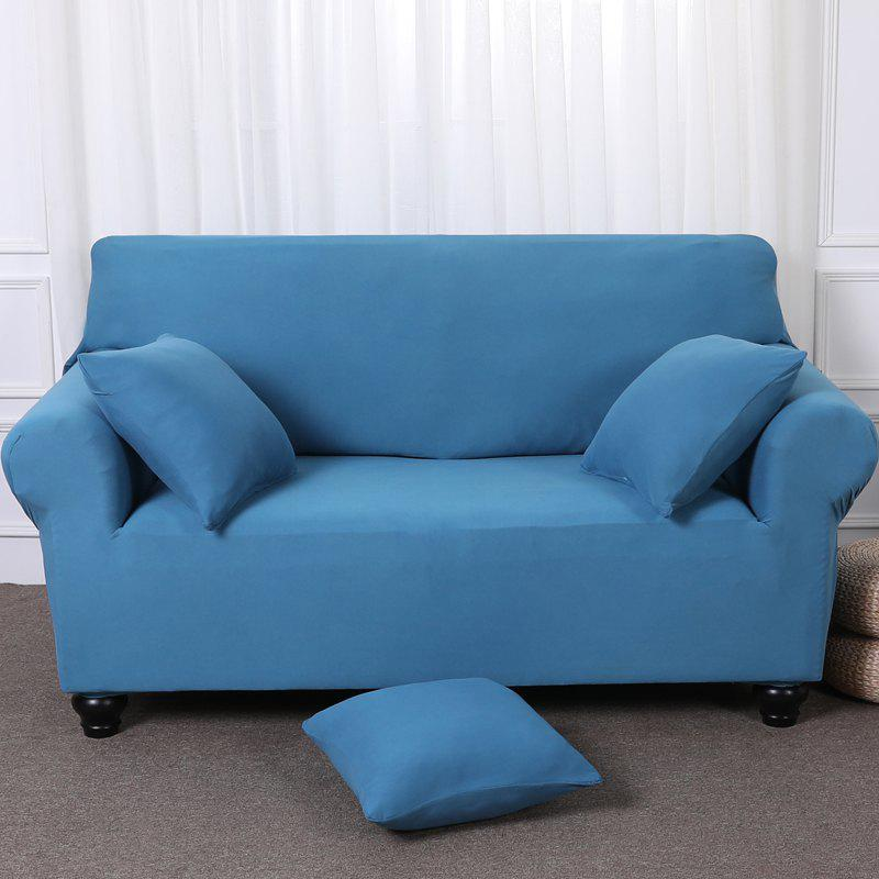 Elastic Tight Package Anti-Skid Pure Color Sofa Cover - BLUE LAGOON THREE-SEAT SOFA COVER190CM230CM