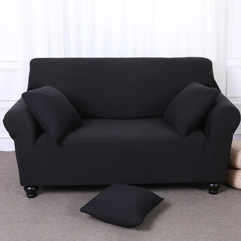 Elastic Tight Package Anti-Skid Pure Color Sofa Cover - BLACK THREE-SEAT SOFA COVER190CM-230CM