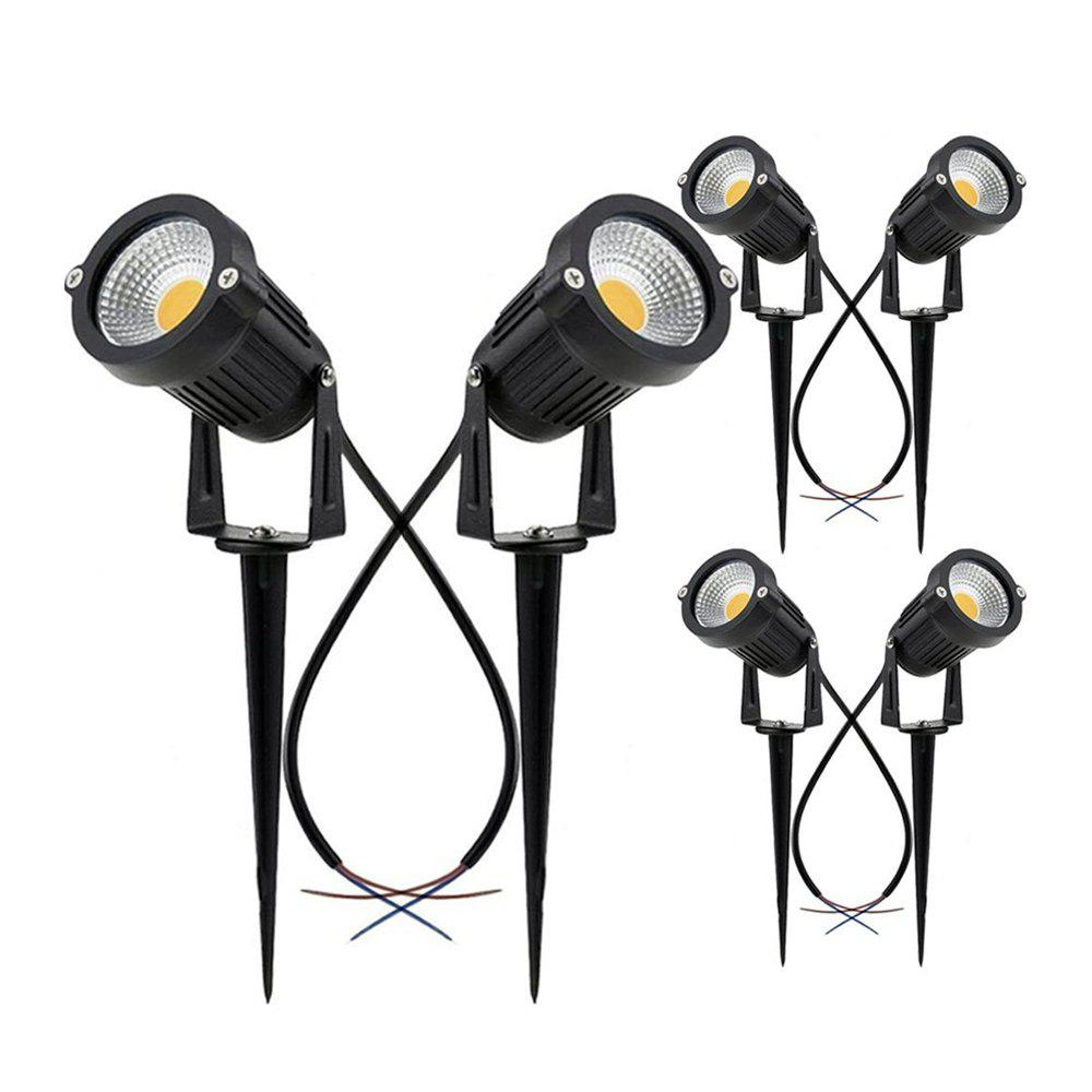 7W COB  Waterproof Outdoor Garden Low Voltage AC12V Lawn Lamp Spiked Stand 6PCS - BLACK 6000 - 6500K