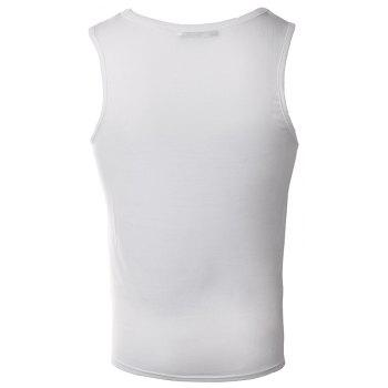 Men's Fashion Print Round Collar Elastic Cotton Tank Top - WHITE L