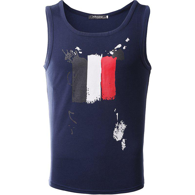 Men's Fashion Print Round Collar Elastic Cotton Tank Top - NAVY BLUE XL