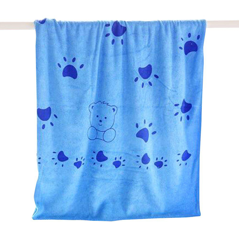 Print Cartoon Children Adult Absorbent Microfiber Bath Towel - DODGER BLUE